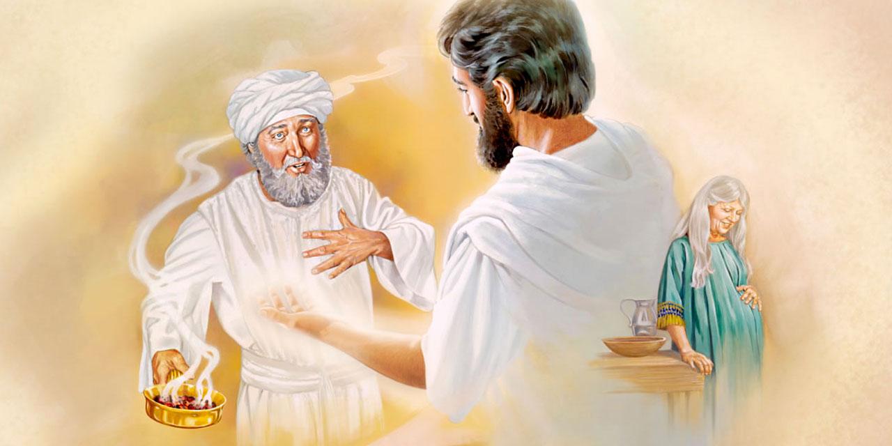 Ангел Гавриил возвещает первосвященнику Захарии о зачатии его жены Елисаветы и рождении сына Иоанна Крестителя