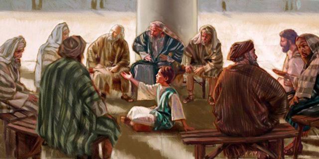 Двенадцатилетний Иисус Христос общается в храме с книжниками и учителями