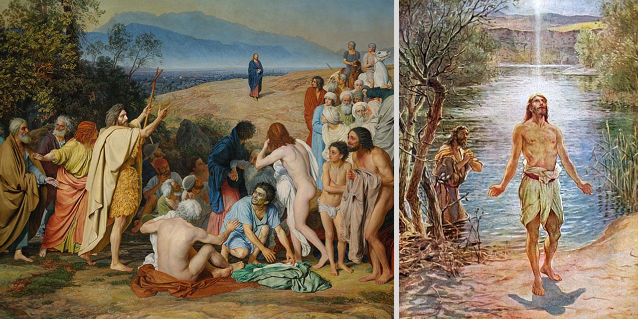 Иисус Христос крестится от Иоанна в реке иордан и слышит голос с неба