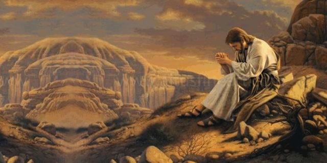 Иисус Христос молится в пустынном месте наедине евангелие новый завет библия