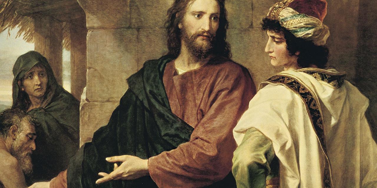 Иисус Христос предлагает богатому продать всё и следовать за ним
