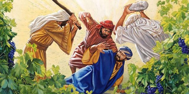 Иисус Христос рассказывает притчу о злых виноградарях