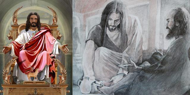 Иисус Христос учит учеников служить друг другу