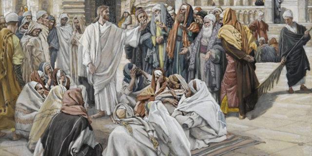 Иисус Христос в храме беседует с первосвященниками и книжниками и старейшинами
