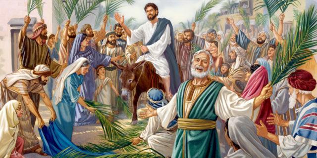 Иисус Христос въезает в иерусалим на ослике