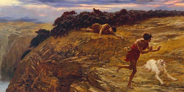 Иисус Христос посылает легион бесов в свиней