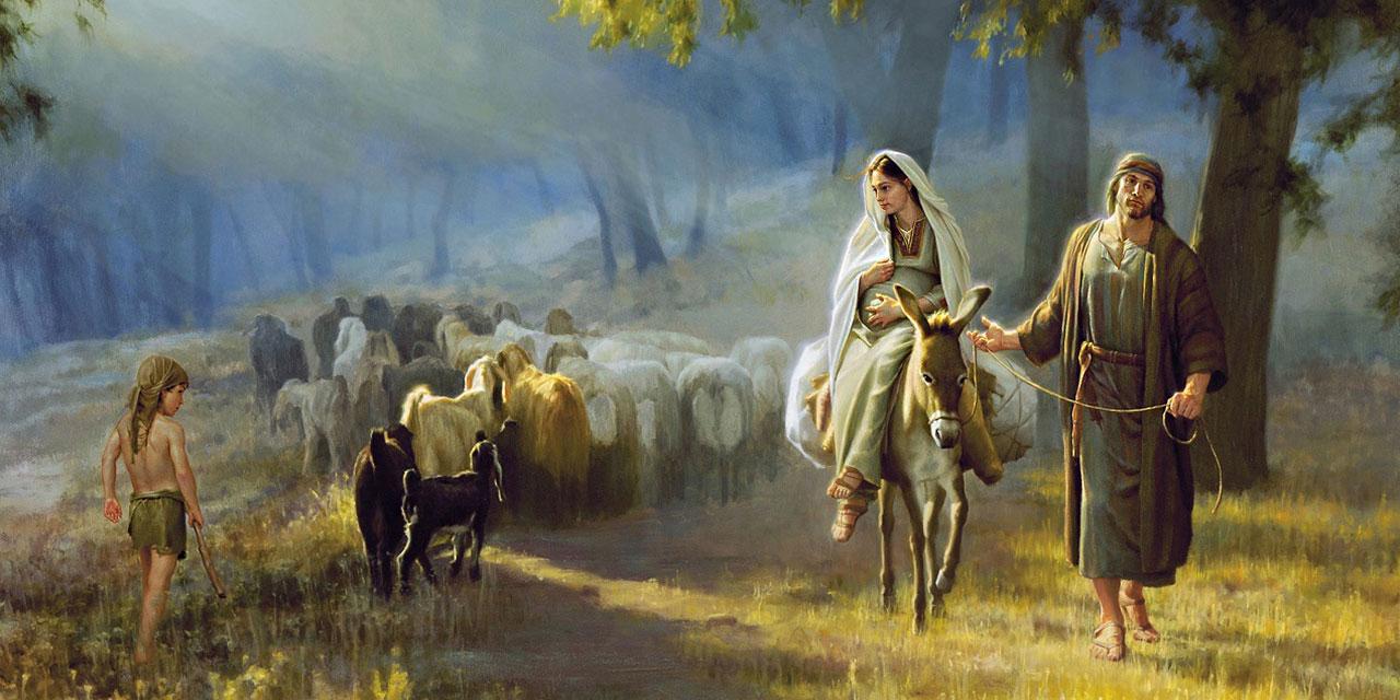 Иосиф и Мария идут в Вифлеем на перепись населения