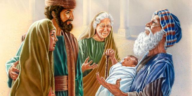 Первосвященник Симеон благославляет младенца Иисуса в день обрезания Господня
