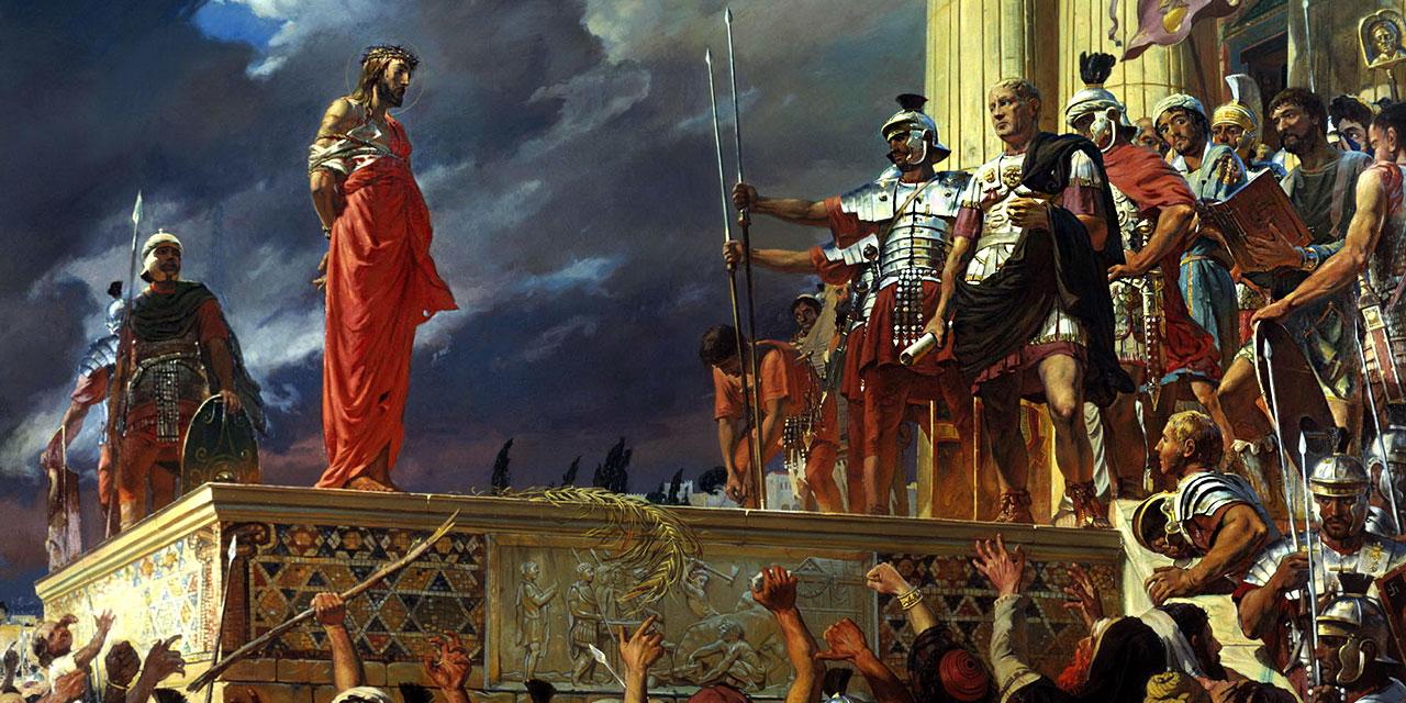 Пилат судит Иисуса Христа за богохульство