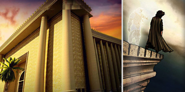 Сатана искушает Иисуса Христа в пустыне броситься вниз с крыши храма Соломона