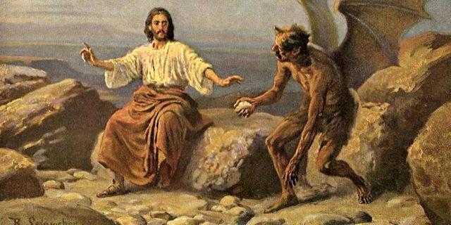 Сатана искушает Иисуса Христа в пустыне превратить камни в хлеб