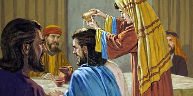 Женщина возливает миро на голову Иисуса Христа