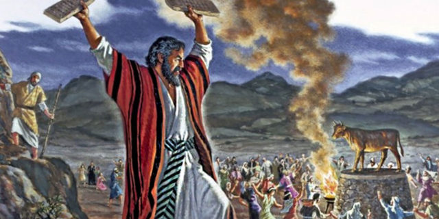 Моисей разбивает скрижали завета и золотой телец исход ветхий завет библия