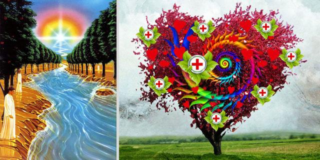 Откровение Иоанна Богослова река от престола Бога листья дерева жизни для исцеления народов новый завет библия