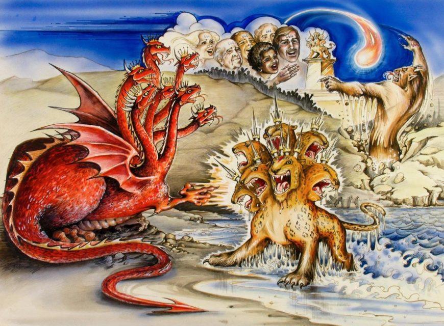 Откровение Иоанна Богослова и увидел выходящего из моря зверя с семью головами и десятью рогами на рогах его было десять диадим, а на головах его имен новый завет библия