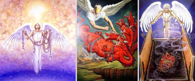 Откровение Иоанна Богослова ангел сковал его на тысячу лет дракона, змия древнего, который есть дьявол и сатана новый завет библия 2