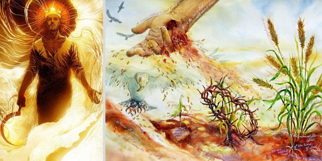 Откровение Иоанна Богослова на облаке сидит подобный Сыну Человеческому; на голове его золотой венец, и в руке его острый серп новый завет библия