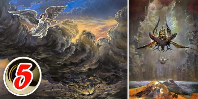 Откровение Иоанна Богослова Пятый Ангел вострубил, и я увидел звезду, падшую с неба на землю, и дан был ей ключ от колодца бездны новый завет библия