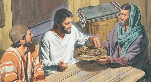 Они подали Иисусу Христу часть печёной рыбы и сотового мёда и, взяв, ел перед ними новый завет библия