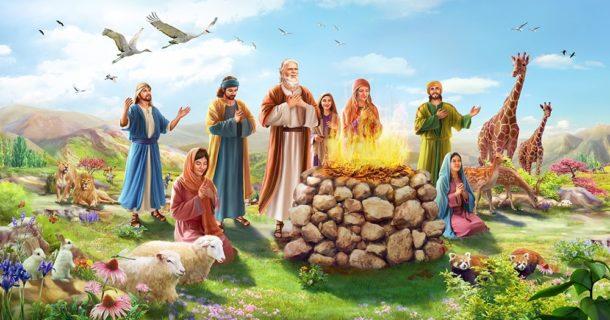 Ной приносит жертву после потопа Бытие ветхий завет Библия